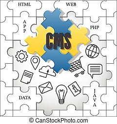 cms., gestion, vector., system., contenu