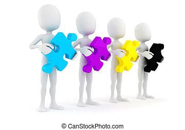 cmyk, 保有物, カラフルである, パズル小片, 背景, 白, 人, 3d