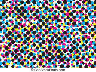 cmyk, 点, パターン, ベクトル