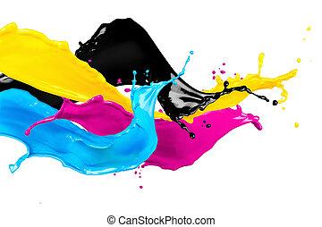 cmyk, 色, 抽象的, はねる