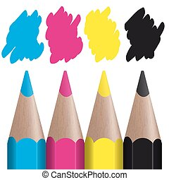 CMYK - 4 colored pencils with color splash