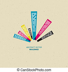 cmyk, abstratos, cores, edifícios