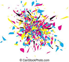 cmyk, abstratos, explosão
