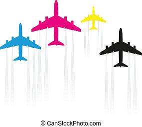 cmyk, aeroplani