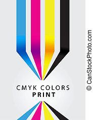 cmyk, afdrukken, kleuren