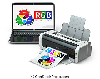 CMYK and RGB color models. Laptop and printer. 3d