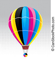 Balloon in CMYK colors, vector illustration