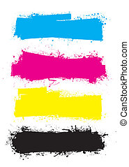cmyk, bandiere, splat, rullo