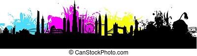 cmyk building cityscape background splash