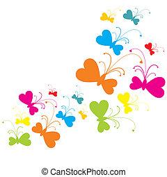 CMY(K) butterflies - Diverse butterflies moving in same...