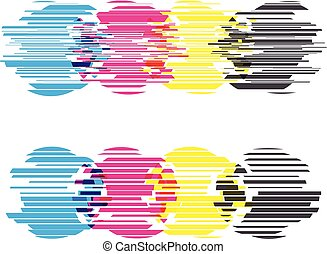 CMYK circles with glitch effects. Vector illustration on white