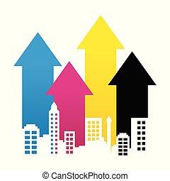 CMYK Cityscape Property Rise Up Arrow Lines Graphic Design Scene