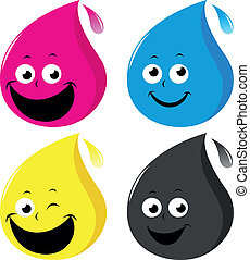 CMYK color drop characters