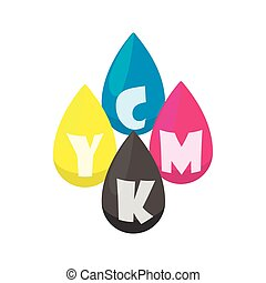 CMYK color profile icon, cartoon style