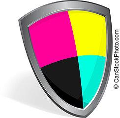 cmyk color shield concept