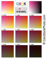 CMYK color swatch chart - Magenta and Yellow