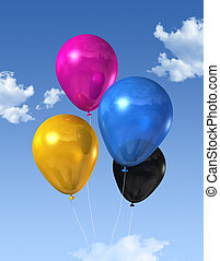 CMYK colored balloons on a blue sky