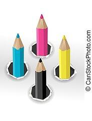 cmyk, colori, pencils.