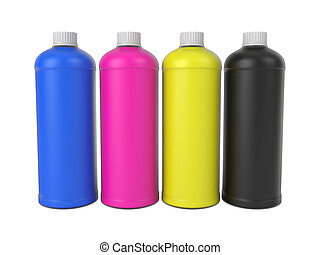 CMYK colors bottles, isolated on white background, 3d rendering