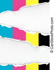 CMYK colors Ripped paper background.