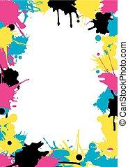 CMYK colors Splatters frame