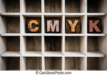 cmyk, conceito, madeira, letterpress, tipo, em, desenhar