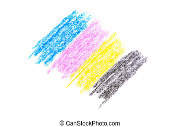 cmyk concept - crayon texture with cyan blue red magenta yellow and black drawings on white paper background