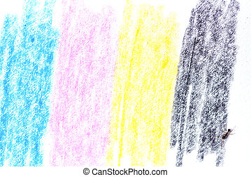 cmyk concept / crayon texture with cyan blue red magenta yellow and black drawings on white paper and black ant