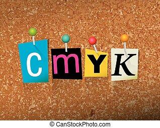 CMYK Concept Pinned Letters Illustration