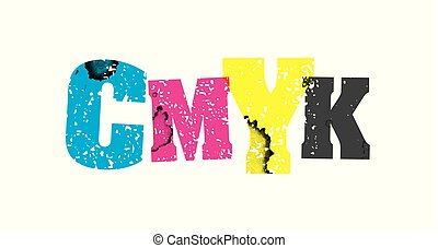 CMYK Concept Stamped Word Art Illustration