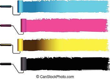 CMYK concept vector illustration with brushes