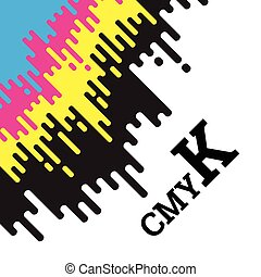 CMYK concept with rounded irregular lines - CMYK concept...