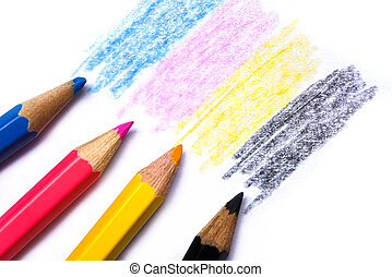 cmyk concept - wooden crayon texture with cyan blue red magenta yellow and black drawings on white paper background