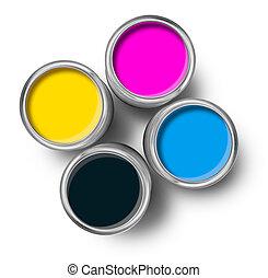 cmyk, cor, lata pintura, latas, topo