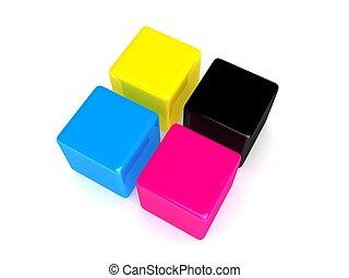 cmyk, cubes