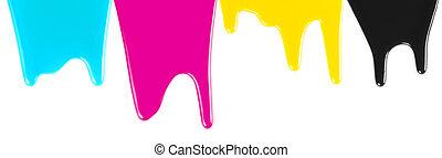 cmyk, cyan, magenta, amarela, pretas, tintas, gotejando, isolado, branco
