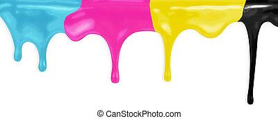 cmyk, cyan, magenta, gul, svart, målar, isolerat, med, snabb...