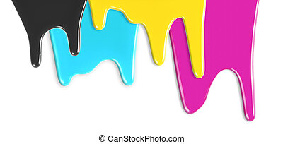 CMYK cyan magenta yellow black inks dripping isolated on white
