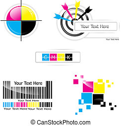 CMYK design set - Creative CMYK design collection over white