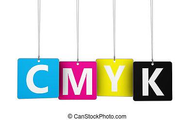 cmyk, digital, offset, imprimindo, conceito
