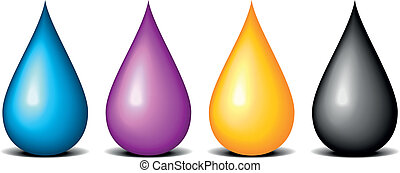 illustration of CMYK colored drops, symbol for painting and printing