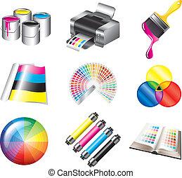cmyk, druk, kolor, komplet, ikony