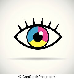 CMYK eye with eyelashes primary colors print