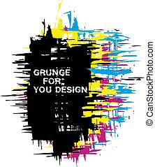 cmyk, färg, grunge, bakgrund