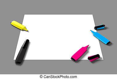 CMYK felt pens
