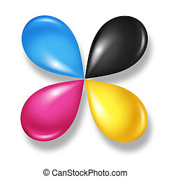 CMYK flower icon concept as cyan magenta yellow and black drops of ink or paint toner as a star symbol of four color printing and designer calibration of saturation and tonality of printed and digital content.