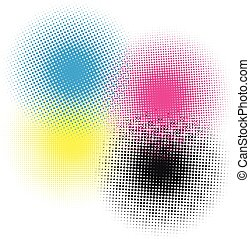 CMYK HALFTONE - CMK HALFTONE BACKGROUND