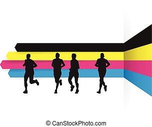 cmyk, iść, backgrou, grupa, biegacze