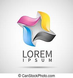 cmyk, ikona, szablon, logo, handlowy