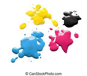 cmyk, imprimindo, tintas